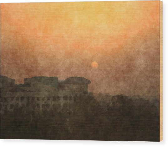 New Delhi Sunset Wood Print