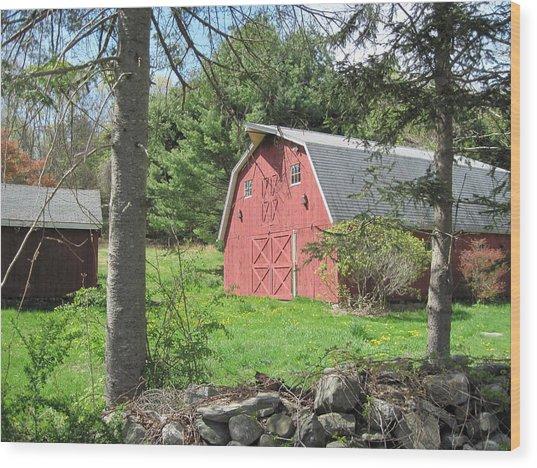 New England Barn Wood Print by Marjorie Tietjen