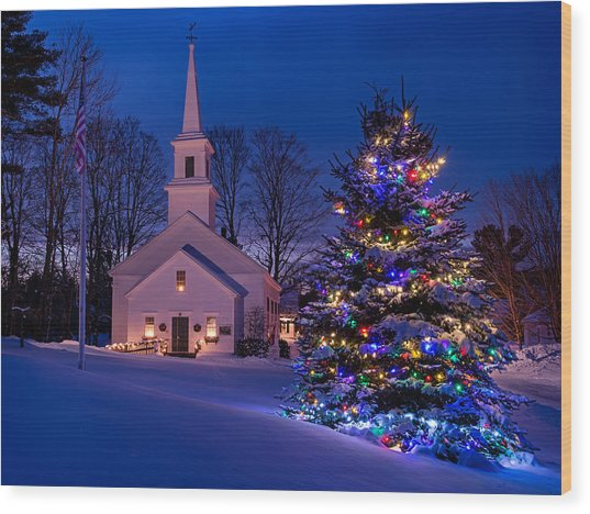 New England Christmas Wood Print