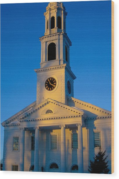New England Church Wood Print by DustyFootPhotography