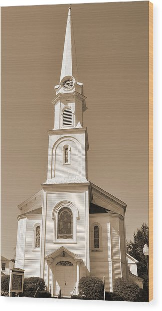 New England Church Steeple Wood Print