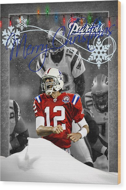 New England Patriots Christmas Card Wood Print