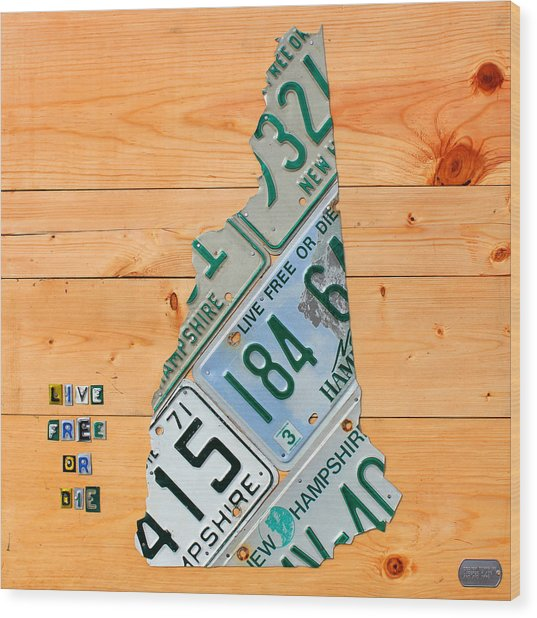 New Hampshire License Plate Map Live Free Or Die Old Man Of The Mountain Wood Print