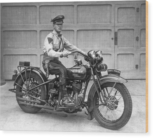 New Jersey Motorcycle Trooper Wood Print
