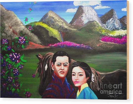 New King And Queen Of Bhutan Wood Print