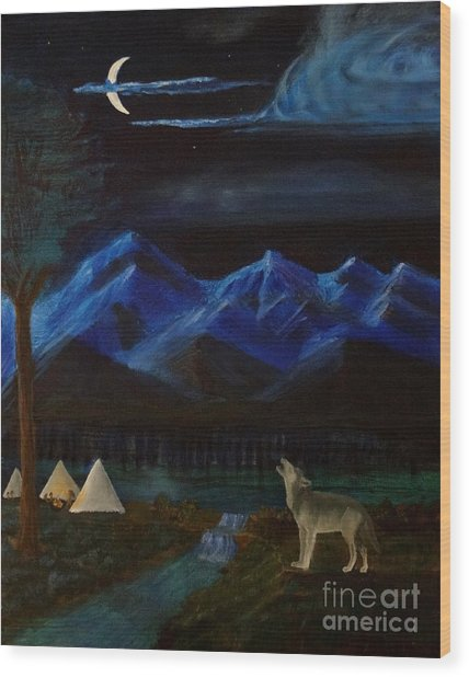 New Moon Howling Wood Print by Stephen Schaps