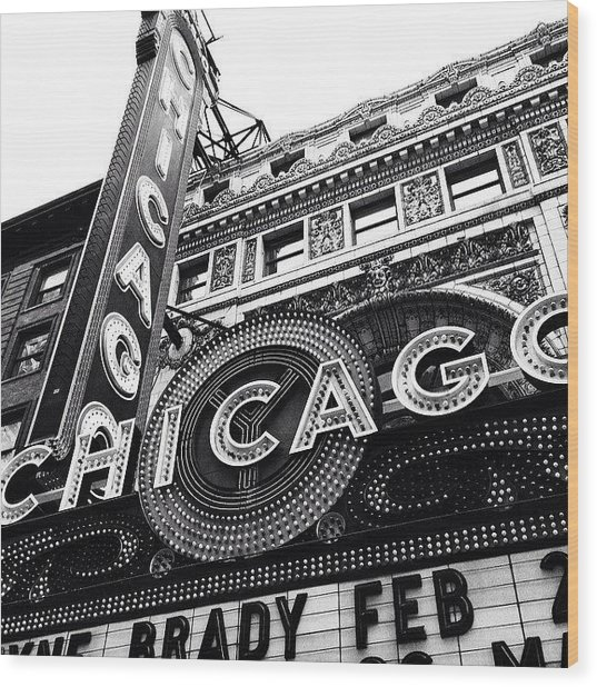 Chicago Theatre Sign Black And White Photo Wood Print by Paul Velgos
