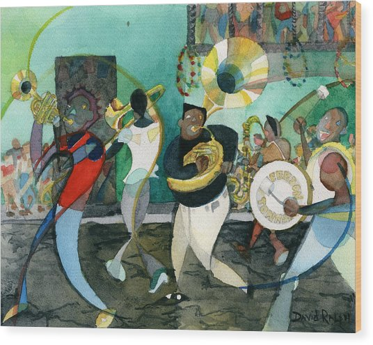 New Orleans Brass Band Jazz Wood Print