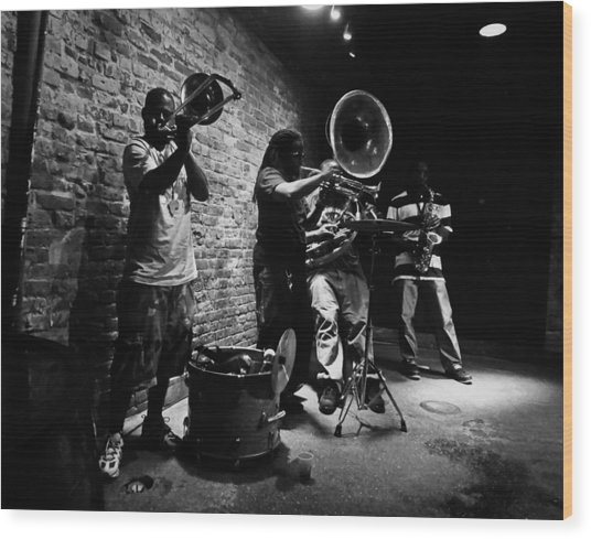 New Orleans Brass Band Wood Print