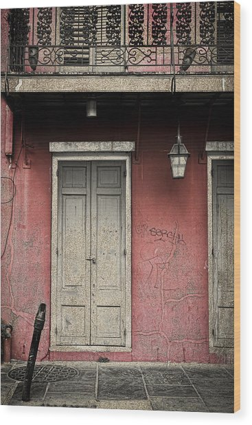 New Orleans French Quarter Balcony And Doorway Wood Print by Ray Devlin