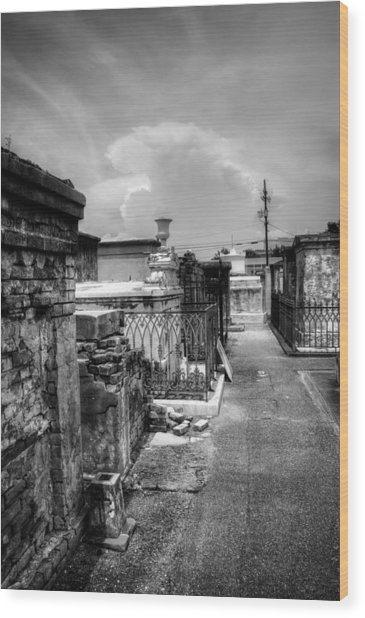 New Orleans Graveyard In Black And White Wood Print