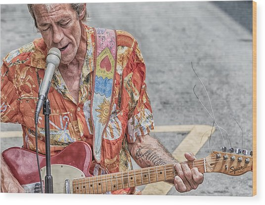 New Orleans Guitar Man Wood Print