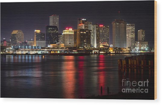New Orleans Skyline Wood Print