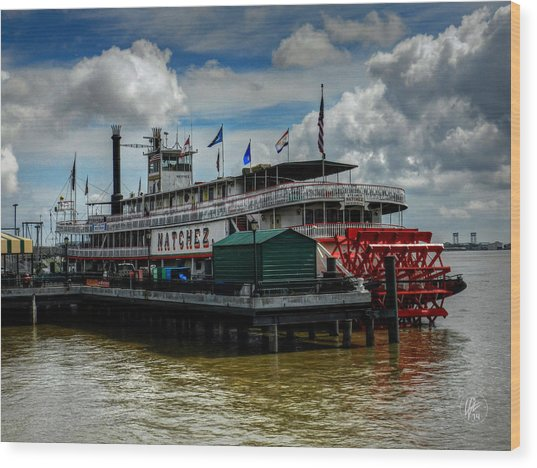 New Orleans - Steamboat Natchez 001 Wood Print by Lance Vaughn
