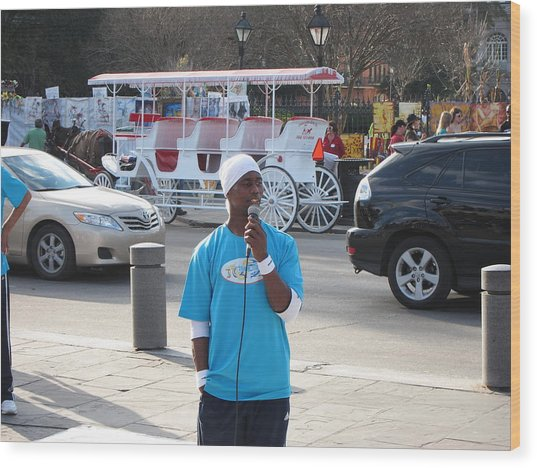 New Orleans - Street Performers - 12128 Wood Print by DC Photographer