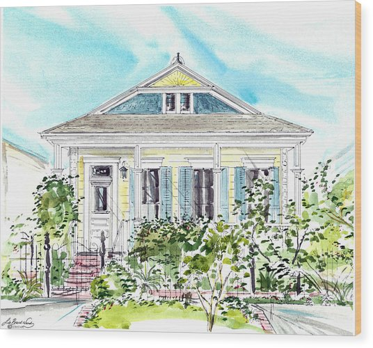 New Orleans Victorian Wood Print