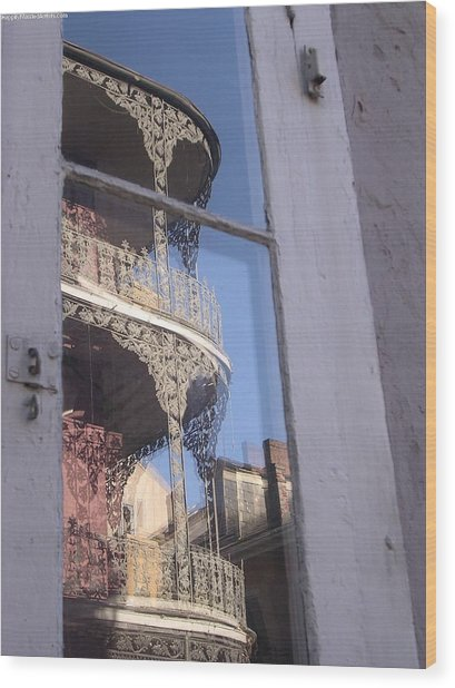 New Orleans Window Wood Print