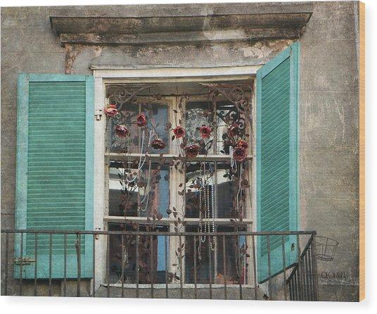 New Orleans Window Wood Print