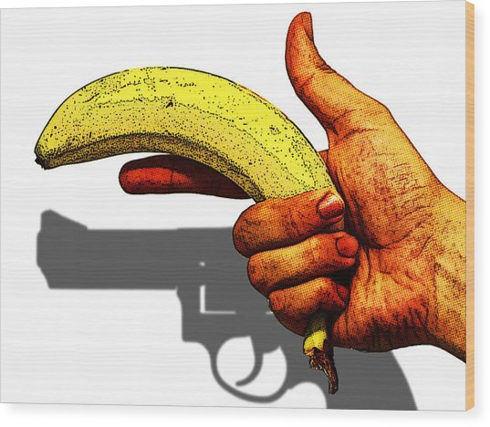 New Photographic Art Print For Sale   Hand Gun Against A White Background Wood Print