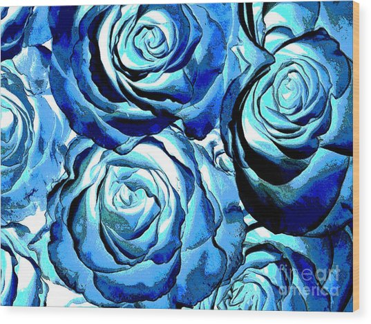 Pop Art Blue Roses Wood Print