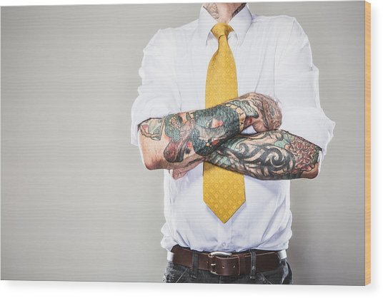 New Professional With Tattoos Wood Print by RyanJLane