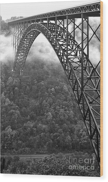 New River Gorge Bridge Black And White Wood Print