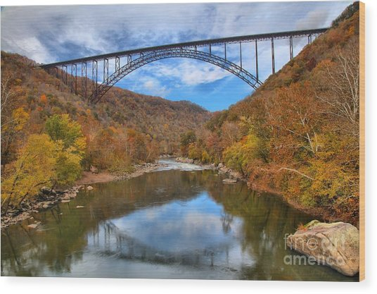 New River Gorge Reflections Wood Print