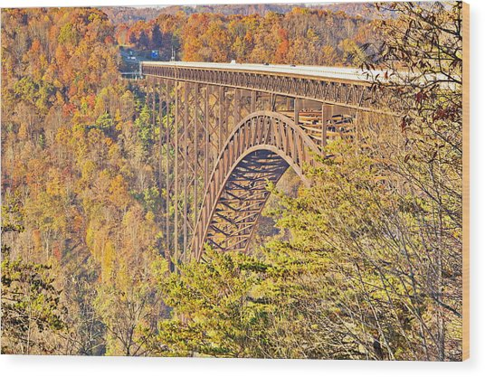 New River Gorge Single-span Arch Bridge In Autumn. Wood Print