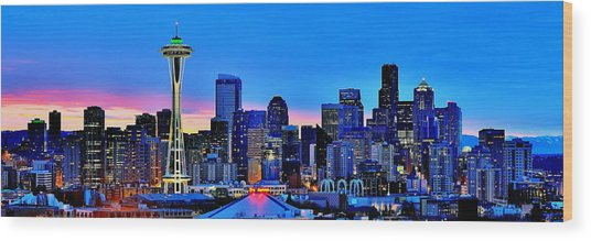 New Seattle Day Wood Print