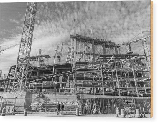 Minnesota Vikings U S Bank Stadium Under Construction Wood Print