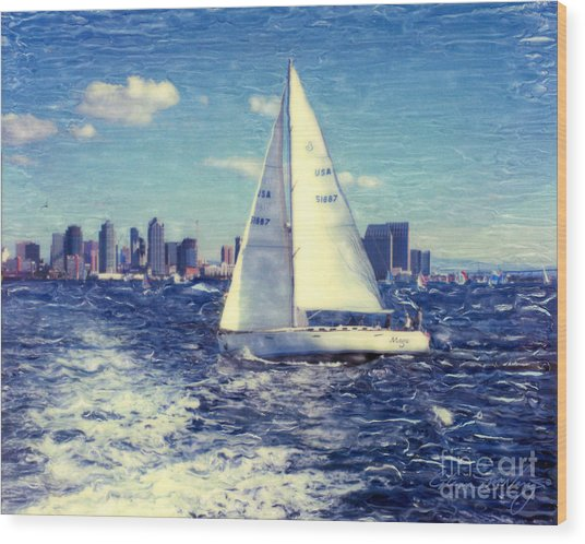 New Years Day Sailing Wood Print