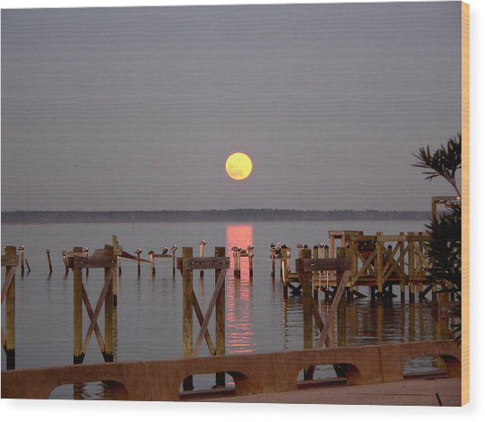 New Years Eve Blue Moon On The Bay Wood Print