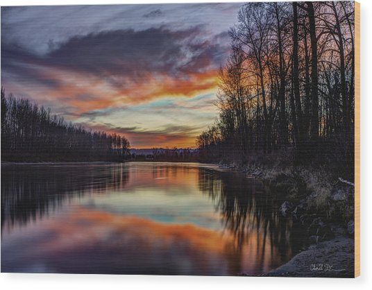 New Years Eve Sunset Wood Print