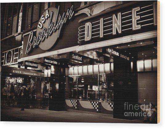 New York At Night - Brooklyn Diner - Sepia Wood Print