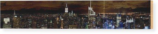 New York At Night Panorama Wood Print