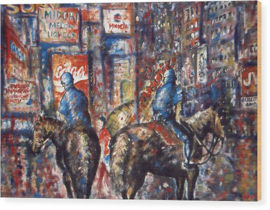 New York Broadway At Night - Oil On Canvas Painting Wood Print