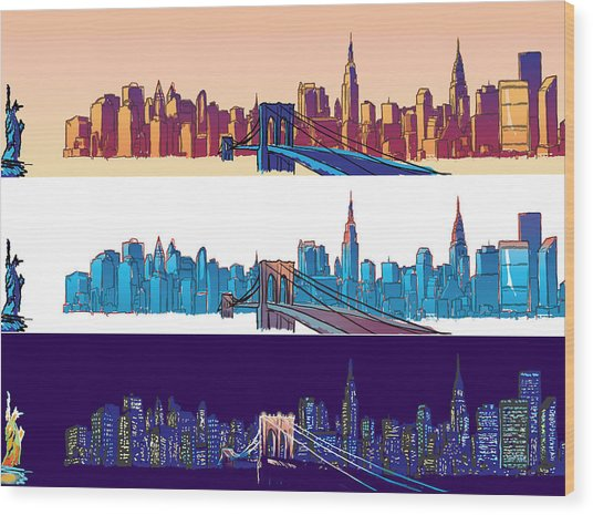New York City - All Day Wood Print by Sam Shacked