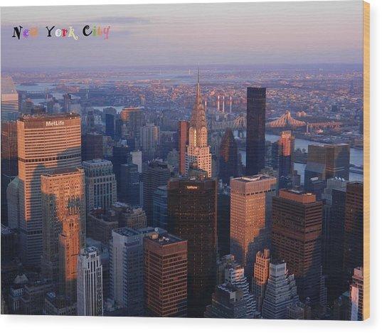 New York City At Dusk Wood Print