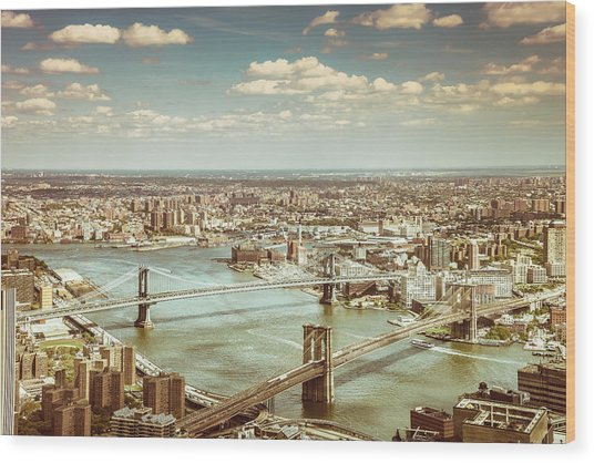 New York City - Brooklyn Bridge And Manhattan Bridge From Above Wood Print