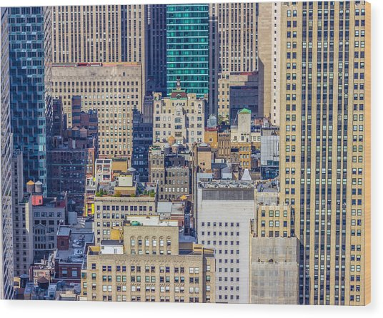 New York City Buildings Abstract Wood Print