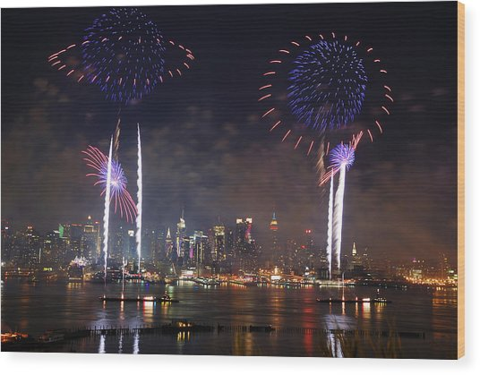 New York City Fireworks Show Wood Print
