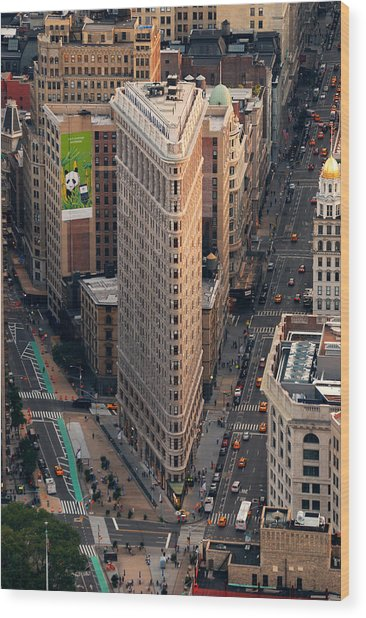 New York City Flatiron Building Aerial View In Manhattan Wood Print