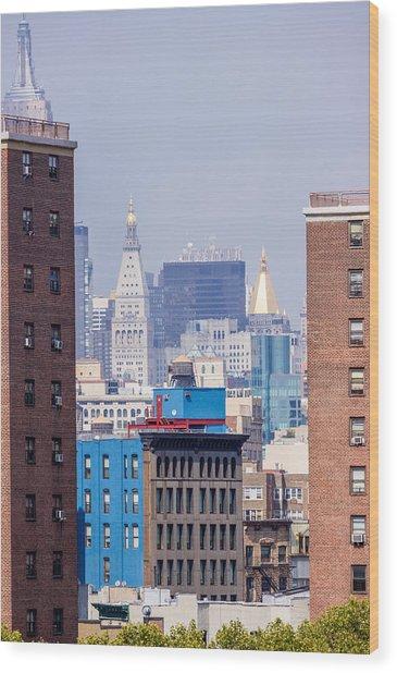 New York City From Brooklyn Bridge Wood Print