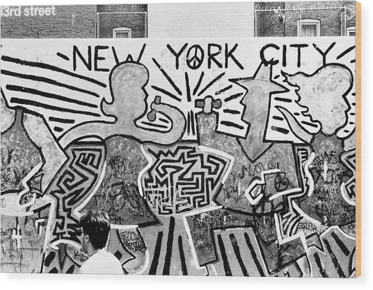 New York City Graffiti Wood Print