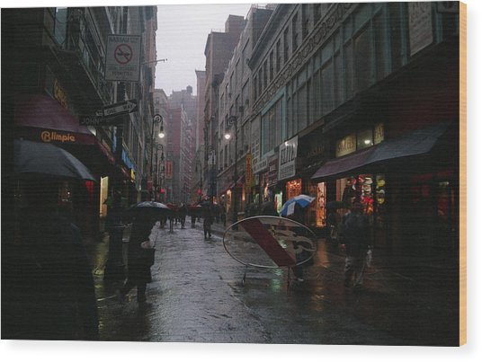 New York City In The Rain Wood Print by Eric Miller