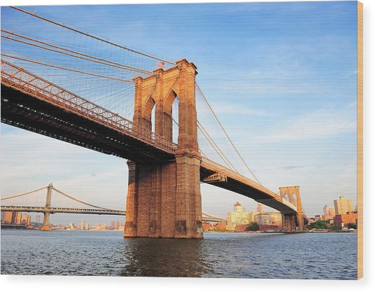 New York City Manhattan Brooklyn Bridge Wood Print