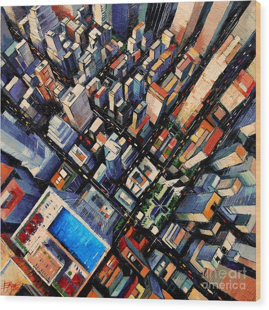 New York City Sky View Wood Print