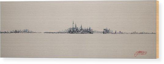 New York City Skyline 15x45 2013 Wood Print
