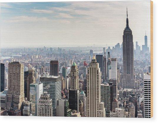 New York City Skyline Wood Print by Denise Panyik-dale
