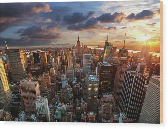 New York City Skyline Wood Print by Dominic Kamp Photography